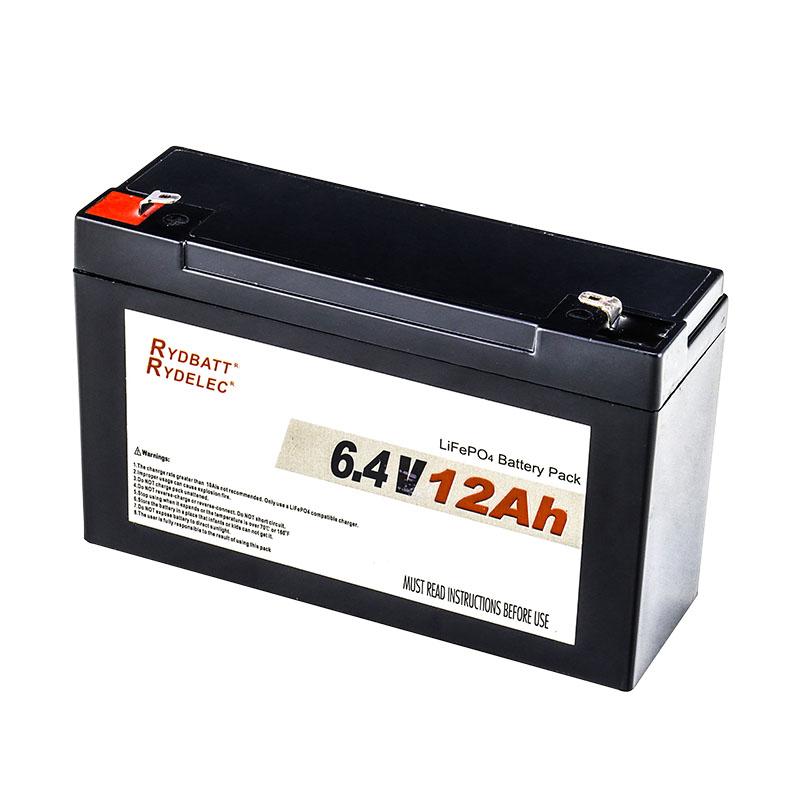 6V铅酸电池替代锂电 6.4V 12Ah 磷酸铁锂电池组
