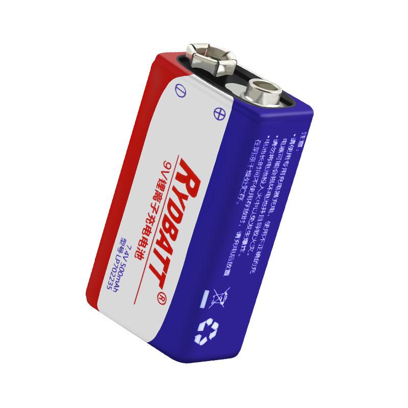 9V 6F22方形聚合物锂电池2串8.4V 500mAh 万用表 吉他拾音器 用