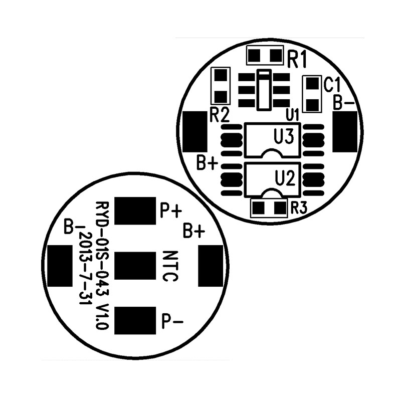 RYD-01S-043/V1.0版 户外设备使用的18650锂电池保护板 BMS电路板